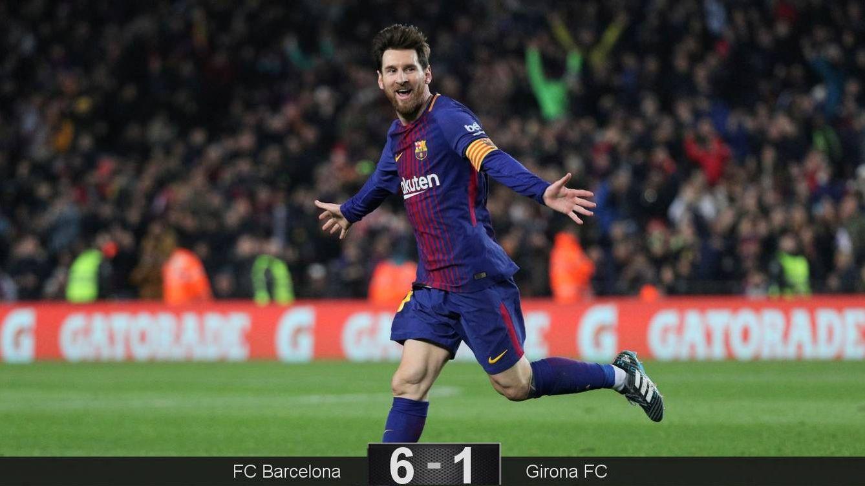 Foto: Messi marcó dos de los seis goles del FC Barcelona ante el Girona. (Reuters)