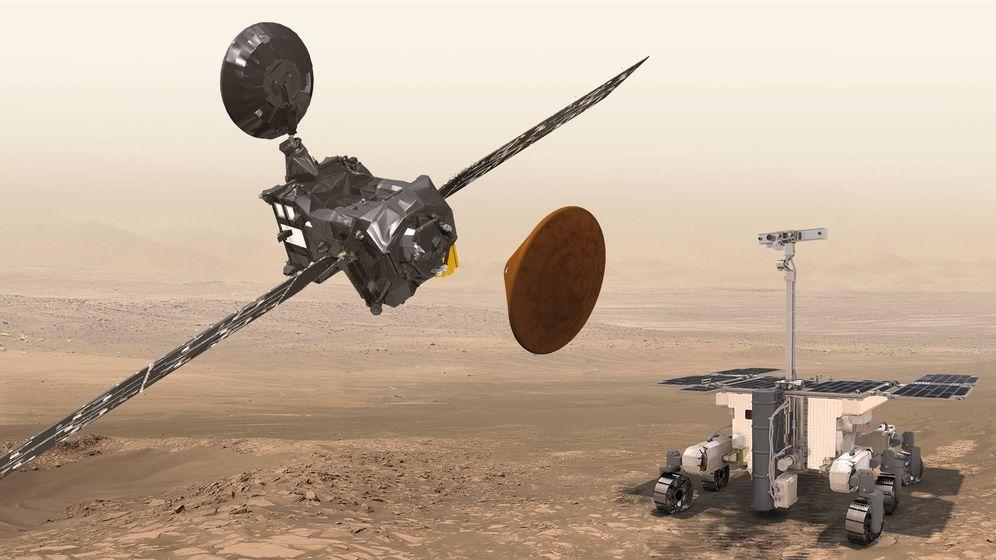 Foto: El TGO que comenzará a orbitar el día 16 y el futuro 'rover' que la ESA planea enviar en 2018.