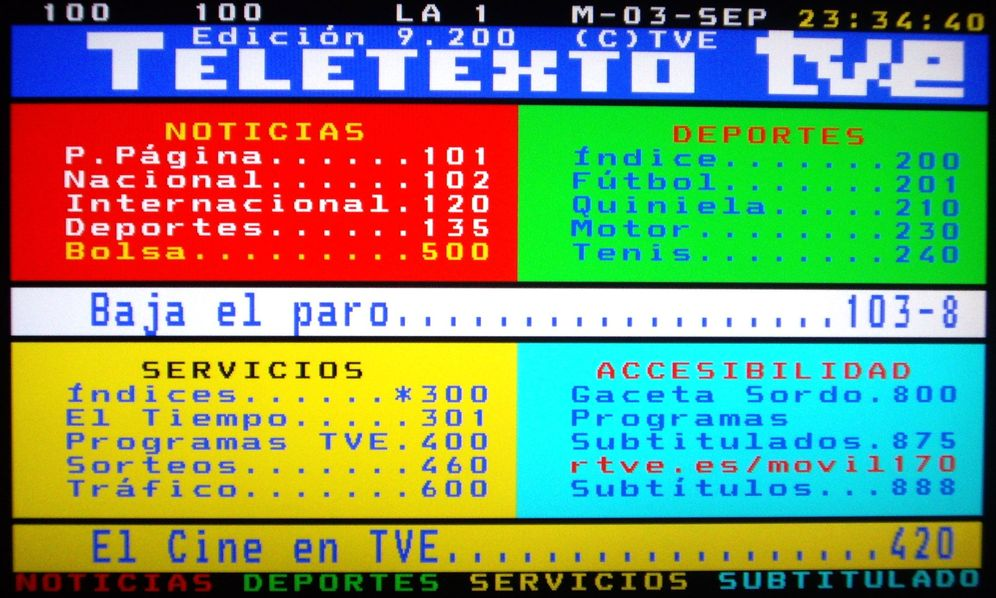 Foto: Página inicial del teletexto de TVE del 3 de septiembre de 2013