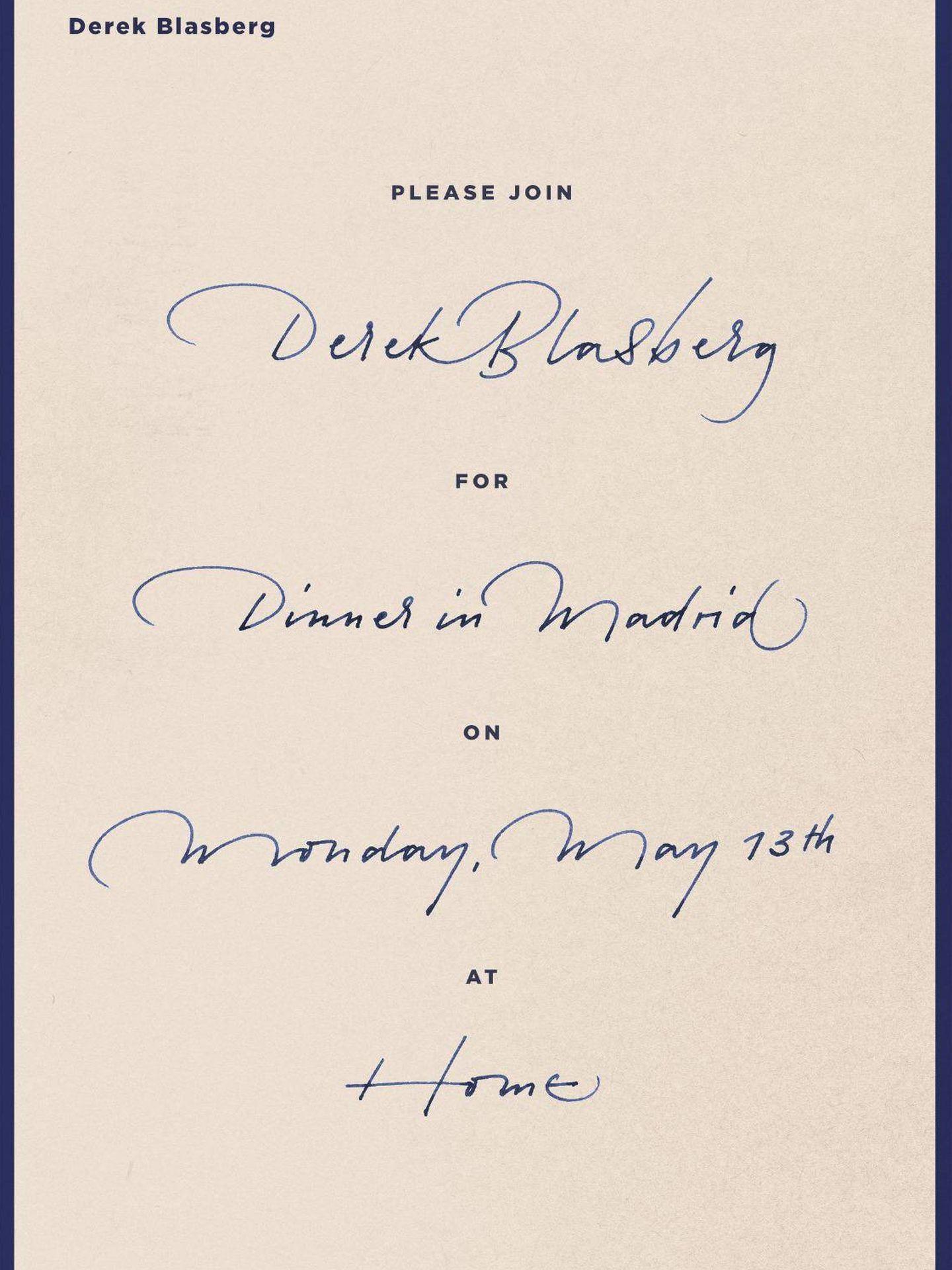 Invitación a la exclusiva cena de Derek Blasberg. (Vanitatis)