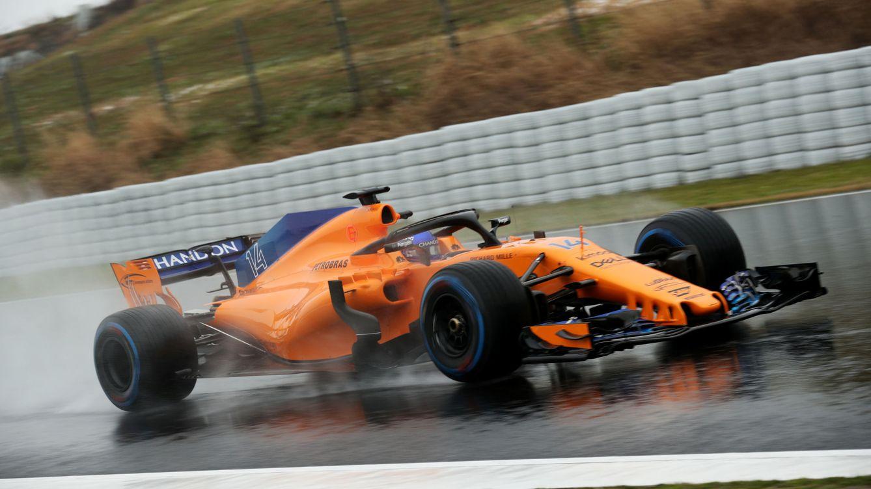 El McLaren MCL33 de Fernando Alonso, con problemas de juventud
