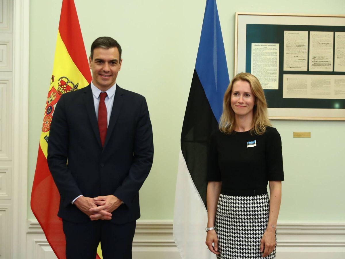 Foto: Pedro Sánchez y la primera ministra de Estonia, Kaja Kallas. (Twitter @desdelamoncloa)