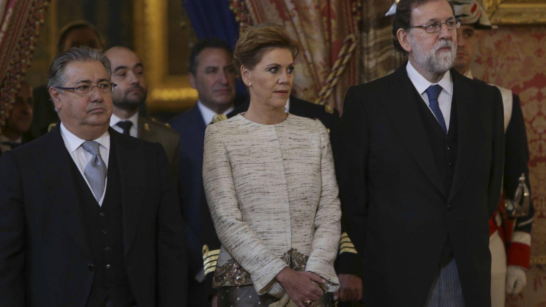 Juan Ignacio Zoido, María Dolores de Cospedal y Mariano Rajoy.