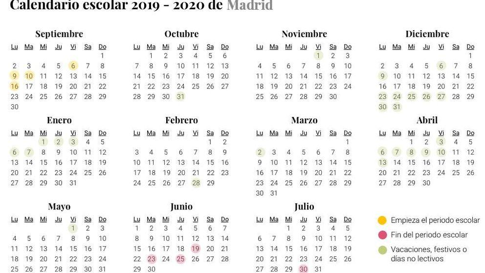 Calendario escolar 2019-2020: ¿cuándo es la vuelta al cole en Madrid? ¿Qué festivos hay?