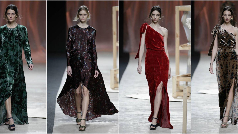 Para los vestidos de noche, escotes desiguales o escotes redondos. ¿El tejido protagonista? El terciopelo. (Gtres)
