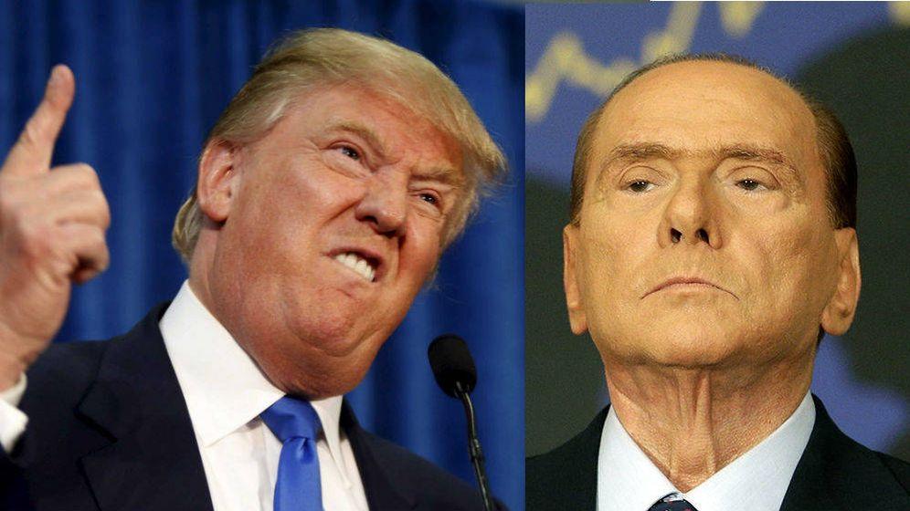 Foto: El candidato republicano Donald Trump junto al ex primer ministro italiano Silvio Berlusconi (El Confidencial).