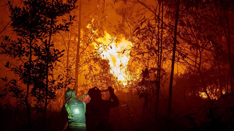 Personal de las brigadas contra el fuego trabajan en la costa de Lugo para evitar un fuego que afecta a varias hectáreas de bosque, sobre todo eucalipto (EFE)