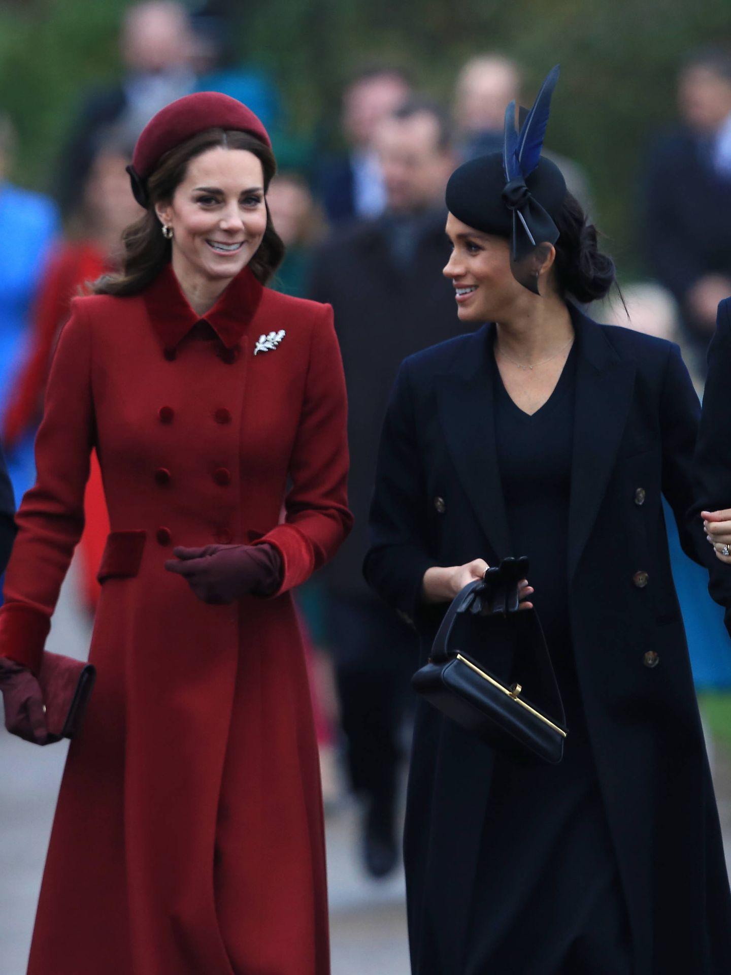 Kate Middleton y Meghan Markle, en Sandringham. (Getty)