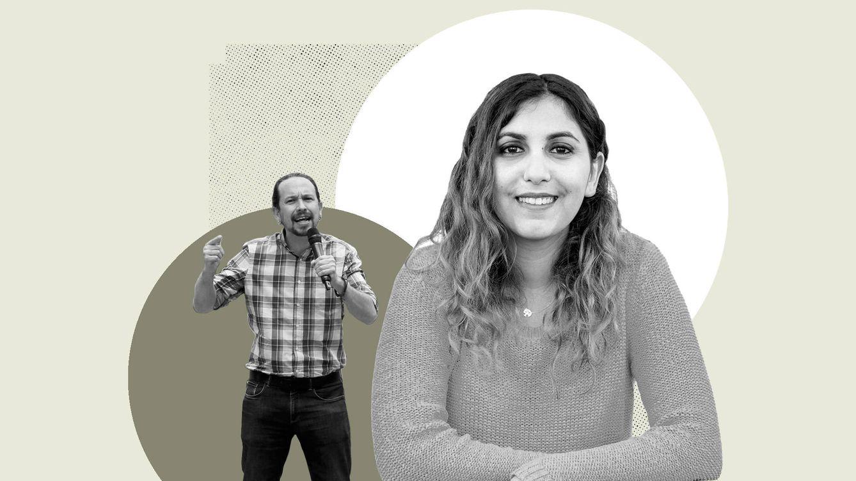 Foto: Montaje de El Confidencial de Dina Bousselham junto a Pablo Iglesias.