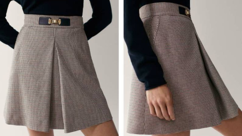 Falda corta de Massimo Dutti. (Cortesía)