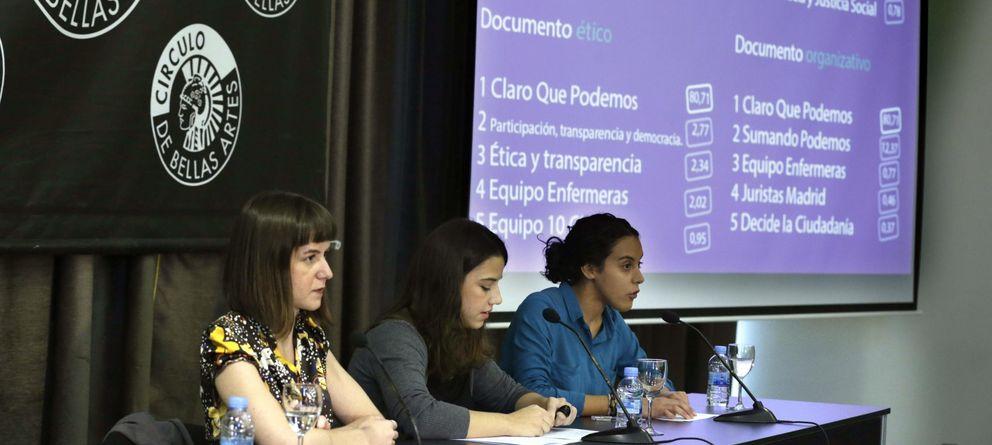 Foto: Presentación de los resultados de las últimas votaciones en Podemos para definir el modelo de partido. (Efe)
