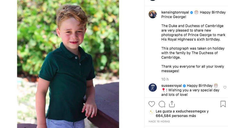 Felicitación de los duques de Sussex al príncipe George por su 6º cumpleaños. (@kensingtonroyal)