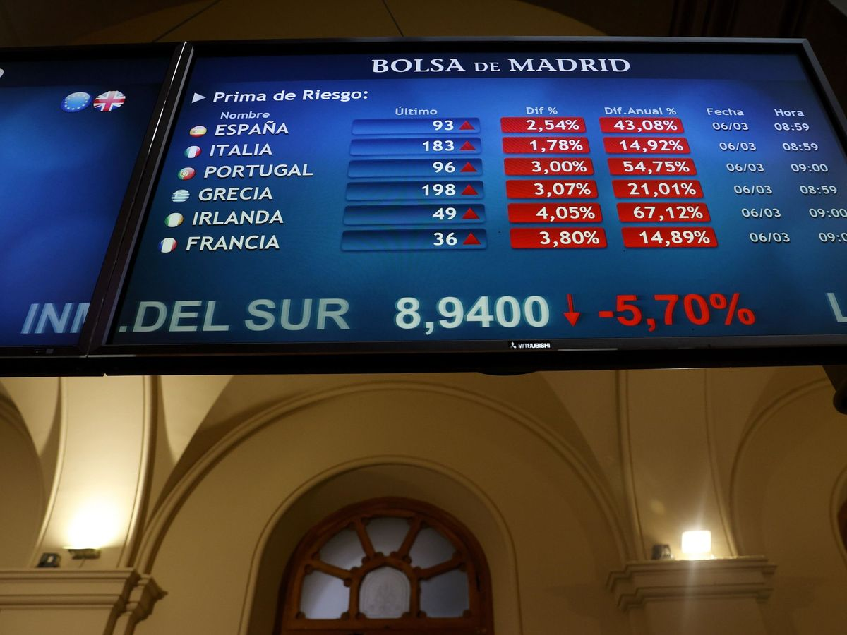 Foto: Paneles de la Bolsa de Madrid mostrando fuertes caídas. (EFE)