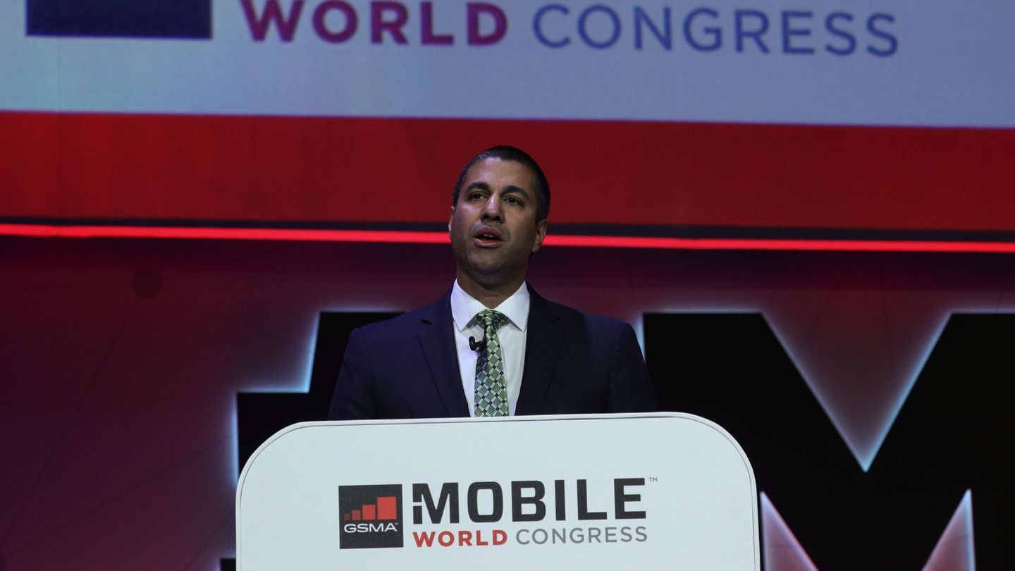 US Federal Communications Commissoner Ajit Pai delivers a keynote speech at the Mobile World Congress in Barcelona, Spain, February 26, 2018. REUTERS Sergio Perez