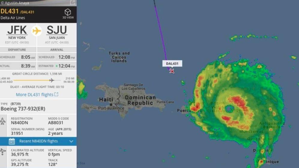 Foto: El Delta 302, acercándose a Puerto Rico. (Foto: Flight Radar 24)