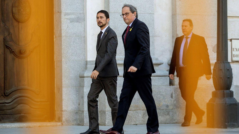 Quim Torra, a la entrada del Tribunal Supremo durante la primera sesión del juicio al 'procés'. (EFE)