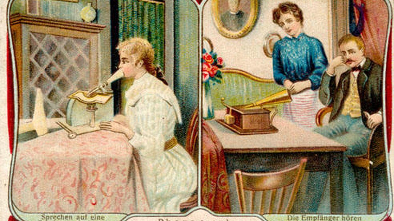 Las postales se grababan en casa y podían escucharse luego en casa del remitente.