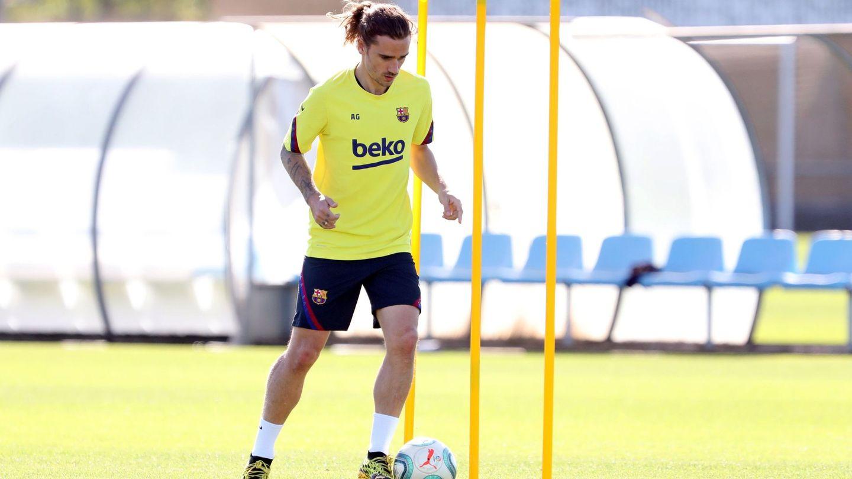 Antoine, en un entrenamiento cuando jugaba en el Barcelona. (EFE)