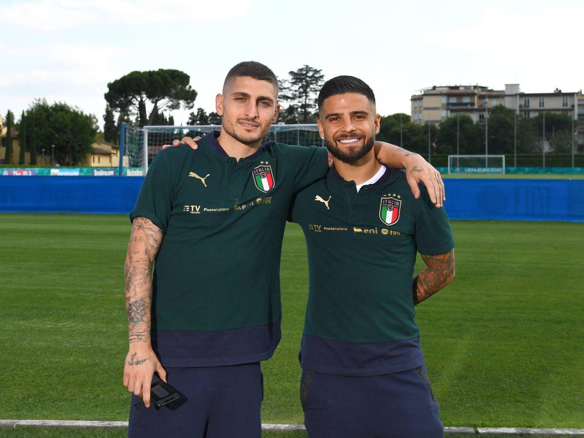 Foto: Dos de las estrellas de Italia en la Eurocopa, Verratti e Insigne. (Getty)
