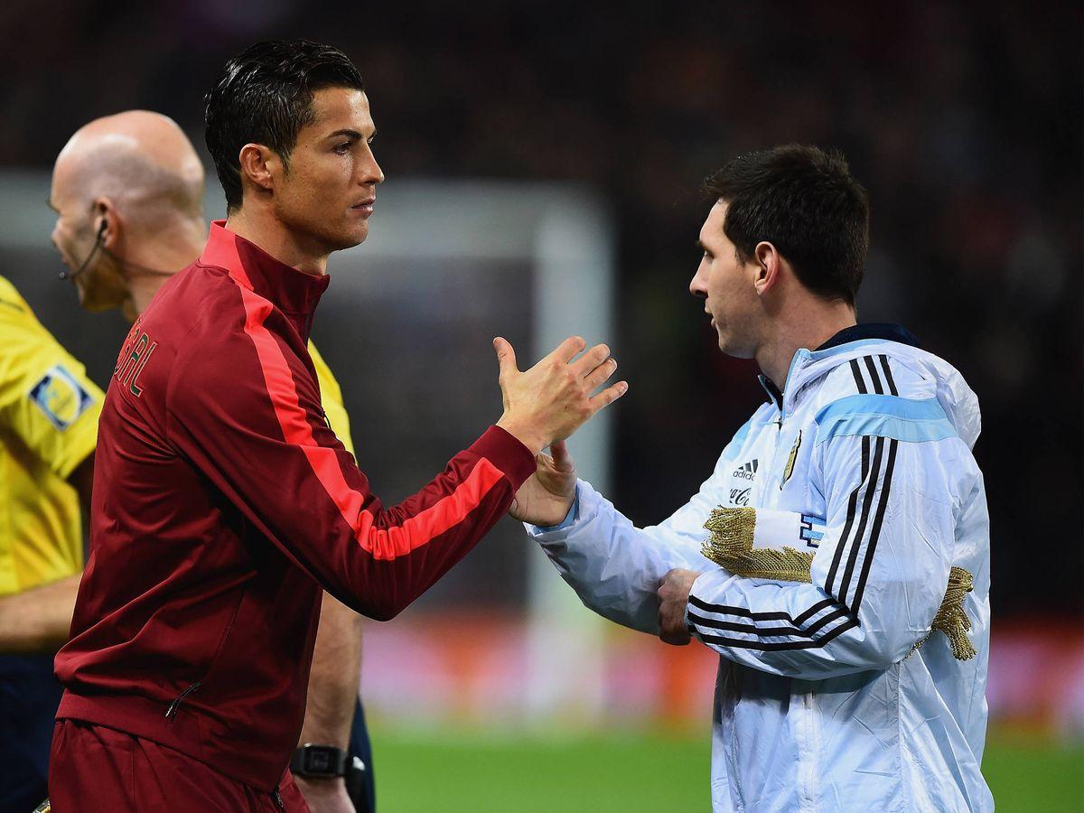 Foto:  Ronaldo y Messi, en un amistoso Portugal-Argentina. (Getty)