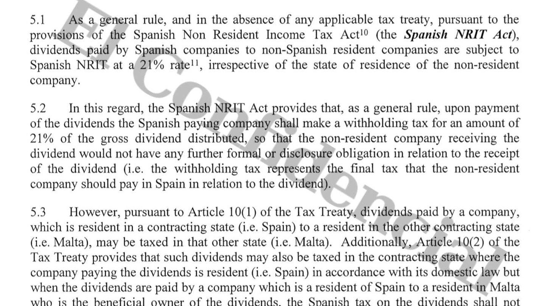 Imagen de uno de los informes que Freshfields Madrid elaboró para la trama.