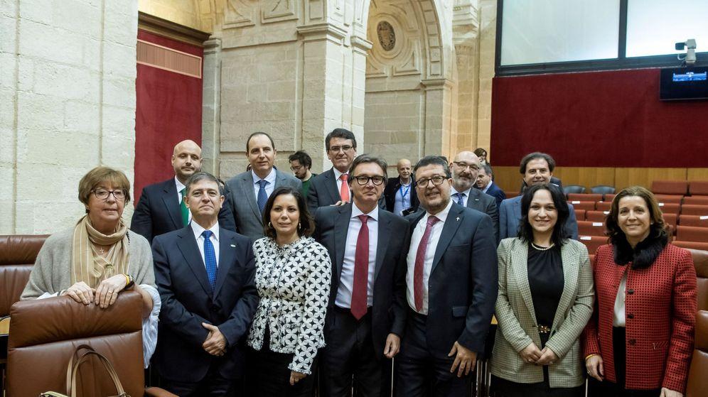 Foto: El grupo parlamentario andaluz de Vox posa tras la sesión constitutiva de la XI Legislatura del Parlamento de Andalucía en Sevilla. (EFE)