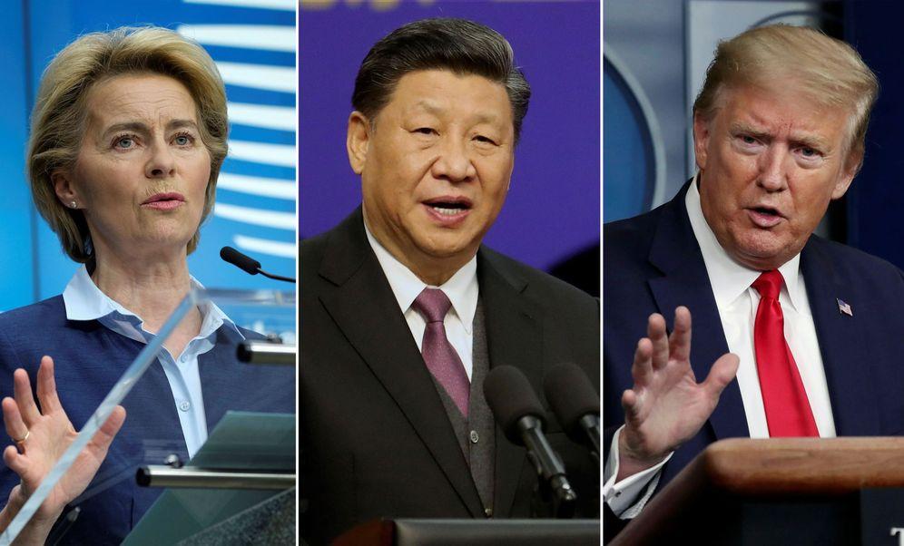 Foto: Von der Leyen, Xi Jinping y Donald Trump. (EFE)