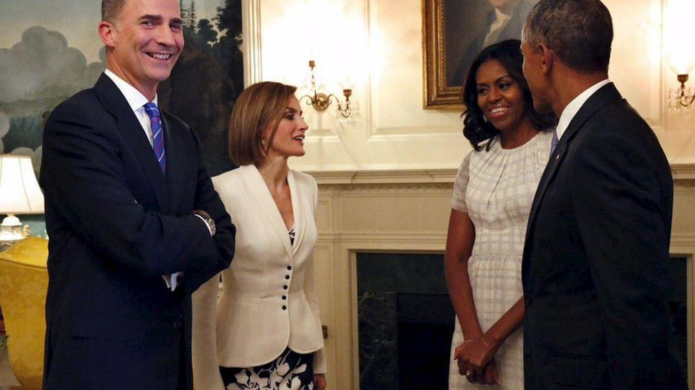 Foto: Los Reyes de España junto a Michelle y Barack Obama durante la visita a Estados Unidos. (Reuters)