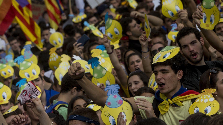 Manifestación de estudiantes catalanes en favor de la independencia. (EFE)