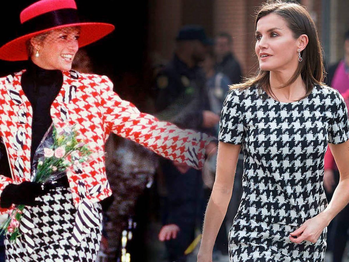 Foto: La reina Letizia y Diana de Gales, con diseños pata de gallo. (Limited Pictures)