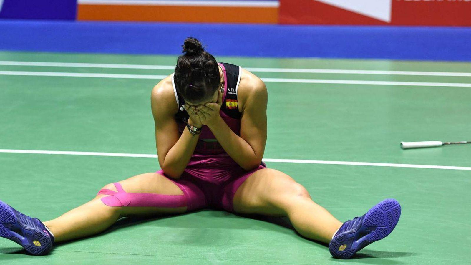 Foto: Carolina Marín, tras ganar la final del Masters 1000 de China de bádminton. (Reuters)