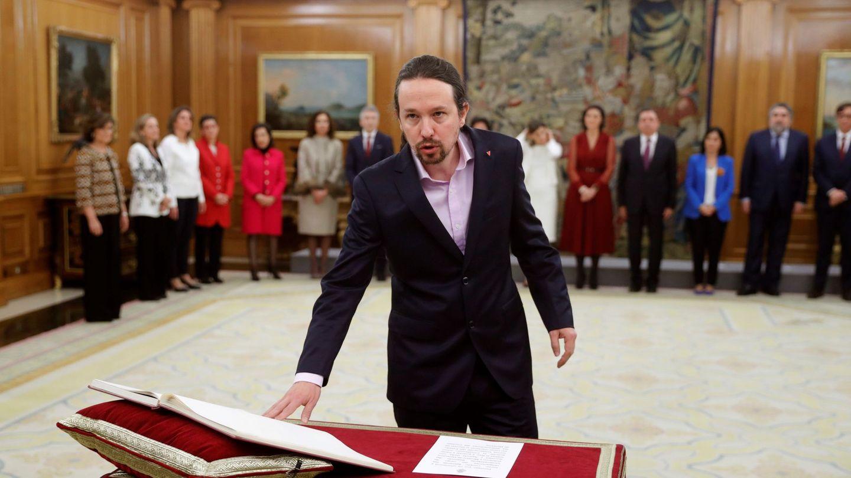 Pablo Iglesias durante la toma de posesión de su cargo. (EFE)