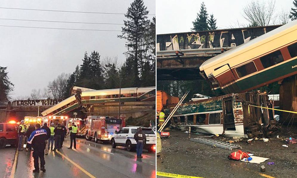 Foto: Imagen del accidente distribuida por la Policía del Estado de Whasington. (Washington State Police)