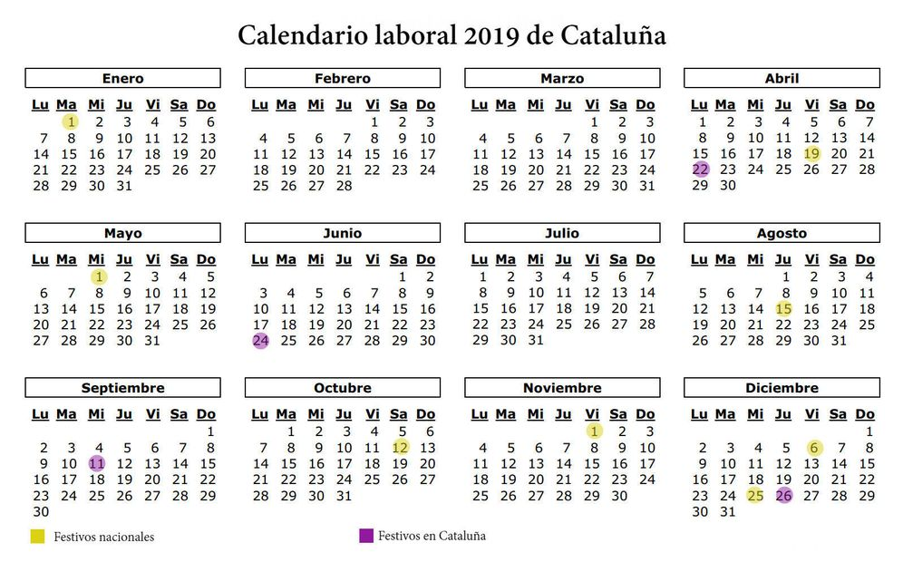 Foto: Calendario laboral de 2019 en Cataluña