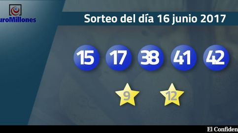 Resultados del sorteo del Euromillones del 16 de junio de 2017: números 15, 17, 38, 41 y 42