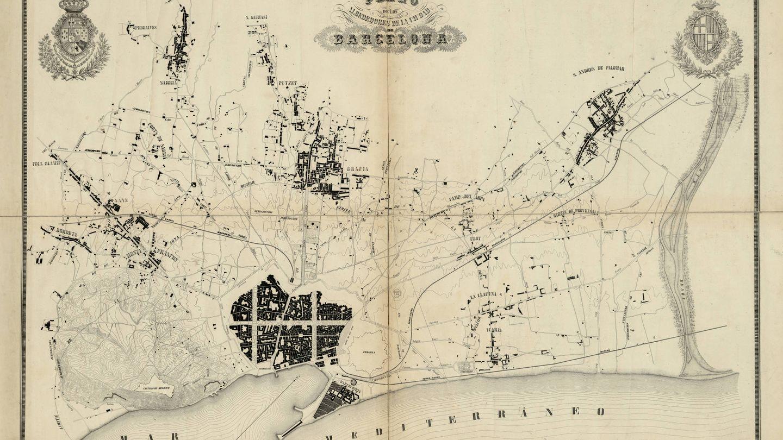 Plano topográfico de Barcelona y su llano (Ildefons Cerdà,1855).