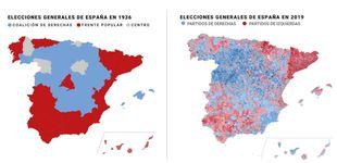 Post de El eterno retorno: el chocante parecido entre los mapas electorales de 1936 y 2019