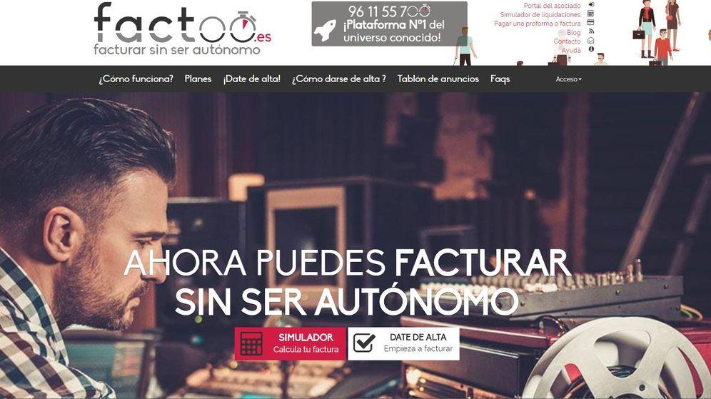 Foto: La web Factoo, cuando ofrecía facturar sin ser autónomo.