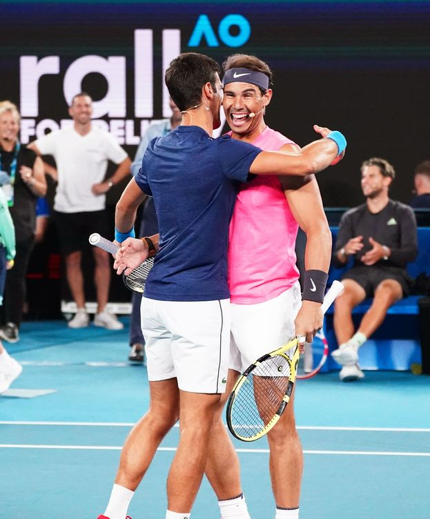 Foto: Djokovic y Nadal, en un partido de exhibición esta temporada en Australia. (EFE)