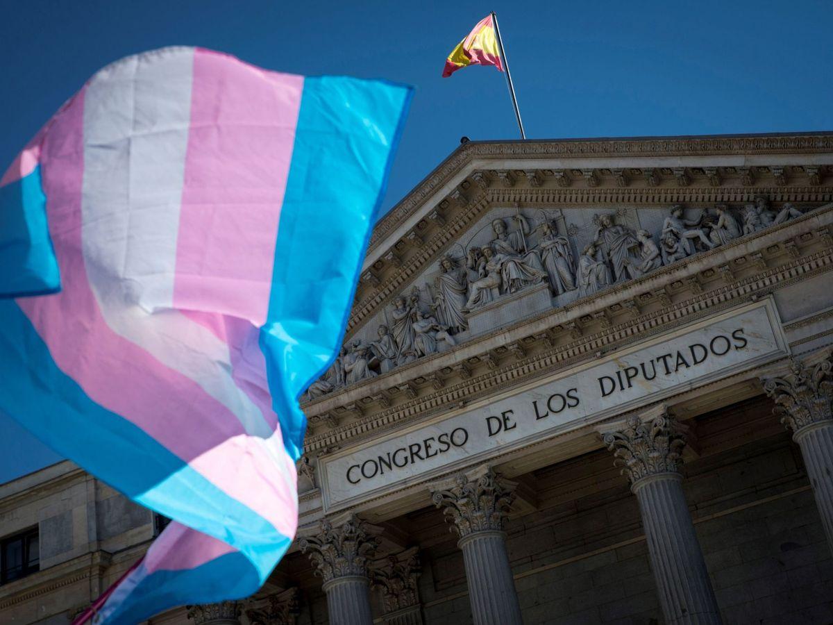 Foto: Una bandera del colectivo trans en la puerta del Congreso de los Diputados (EFE/Luca Piergiovanni)