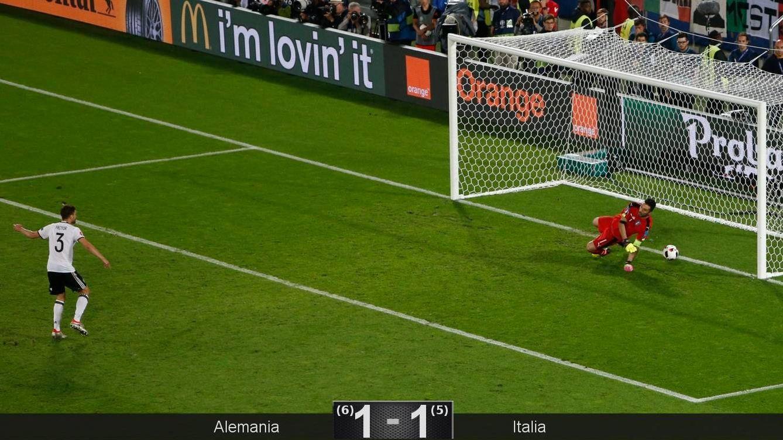 Foto: Buffon no alcanza el penalti de Hector (Reuters)