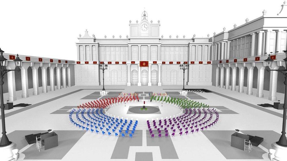 Foto: Recreación infográfica de cómo será la ceremonia civil de Estado a las víctimas del covid-19 en la plaza de la Armería del Palacio Real, el próximo 16 de julio. (Moncloa)
