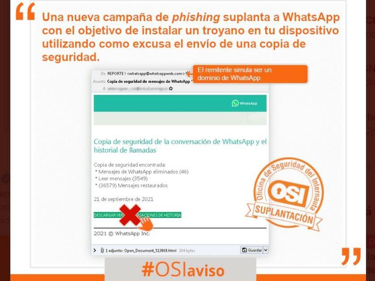 Foto: Un nuevo correo electrónico fraudulento que descarga 'malware'. (OSI)