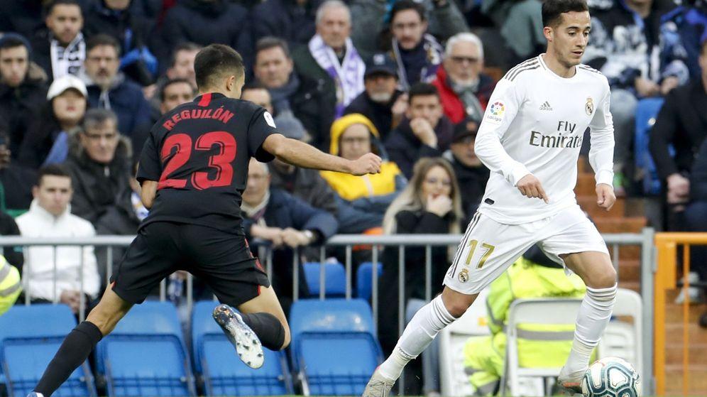 Foto: Lucas Vázquez durante el partido disputado contra el Sevilla en el Bernabéu. (Efe)