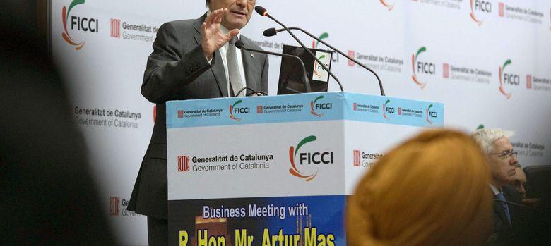 Foto: Artur Mas, durante su intervención en la inauguración del Seminario de la Federation of Indian Chambers and Industry. (EFE)