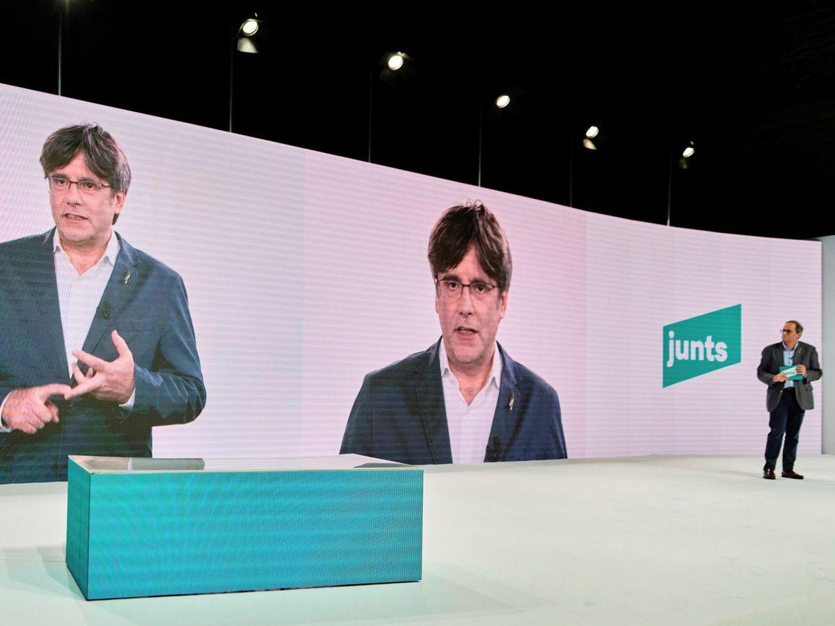 Foto: Puigdemont en la presentación del nuevo JxCAT. (EFE)
