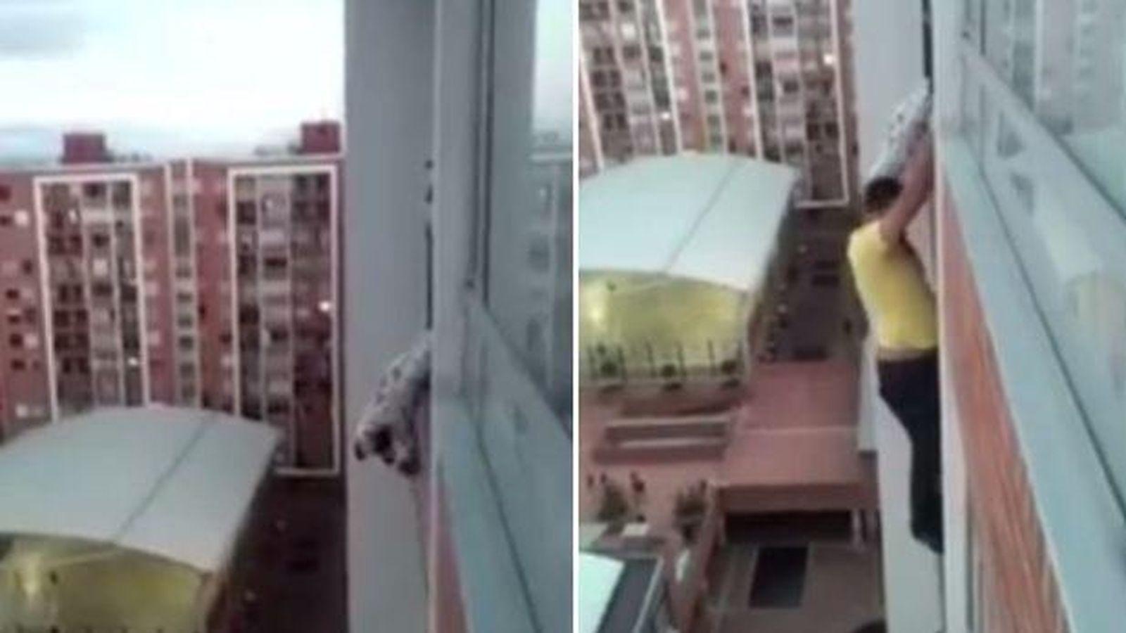 Vídeo Se Juega La Vida Trepando Por Un Edificio Para Salvar