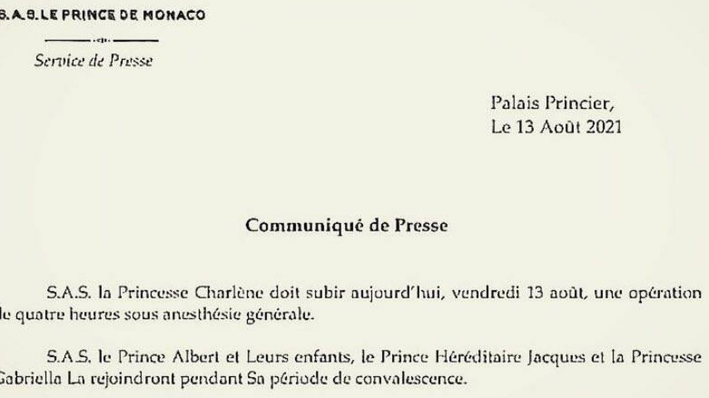 El comunicado emitido por la oficina del Palacio Grimaldi.