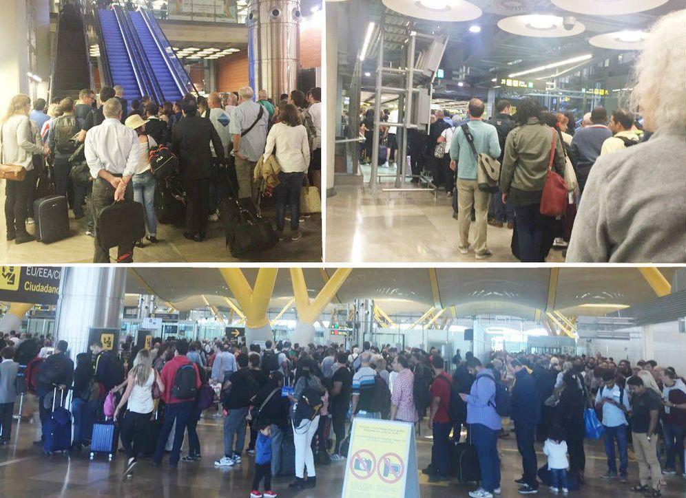 Foto: (Barajas T4 - 11:00 a.m -arriba izq: Salida del tren. Corte de escalera por saturación. Refuerzo de Aena y guardias civiles.14.30 p.m-abajo: Control de pasaporte. Lo mismo a las 6:30. Fotos: EC)