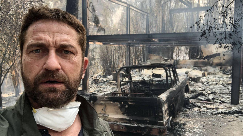 Gerard Butler muestra las ruinas de lo que fue su casa arrasadas por el fuego